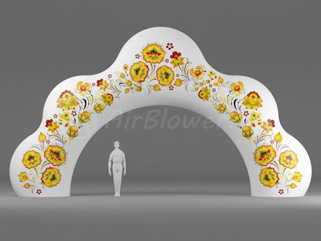 Надувная арка Кокошник Хохлома белая