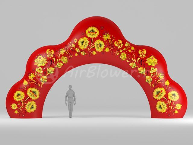 Надувная арка Кокошник Хохлома красная