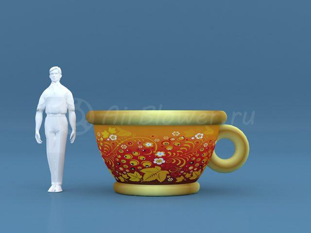 Чашка надувная Хохлома красная